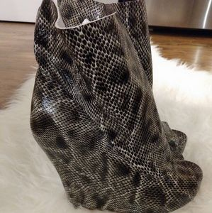 Jeffrey Campbell Python Booties Wedge Sandals
